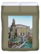City Of Milan In Italy Under Water Duvet Cover