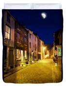 City Street At Night, Staithes Duvet Cover