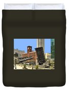 Clark Street Bridge Chicago - A Contrast In Time Duvet Cover by Christine Till