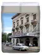 Classic Auto And Old Movie Theatre Duvet Cover