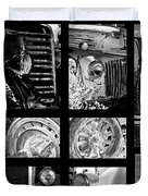 Classic Car Collage In Black And White Duvet Cover