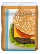 Classic Hamburger With Cheese Tomato And Salad Duvet Cover