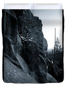 Cliff Dancers Three Black And White Duvet Cover