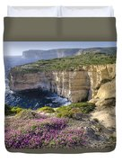 Cliffs Along Ocean With Wildflowers Duvet Cover