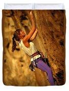 Climber Heidi Badaracco Leads A Route Duvet Cover