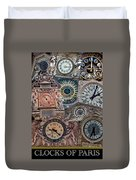 Clocks Of Paris Duvet Cover