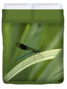 Close-up Of Dragonfly Perched On Leaf Duvet Cover