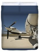 Close Up Of Turbo-prop Aircraft Duvet Cover