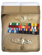 Close-up View Of Military Decorations Duvet Cover