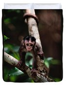Close View Of A Baby Macaque Duvet Cover