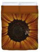 Close View Of A Bee On A Sunflower Duvet Cover