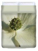 Close View Of A Dogwood Blossom Duvet Cover