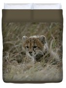 Close View Of A Juvenile Cheetah Duvet Cover