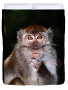 Close View Of A Long-tailed Macaque Duvet Cover