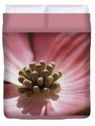 Close View Of A Pink Dogwood Blossom Duvet Cover
