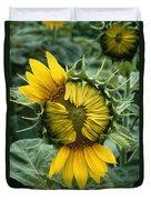 Close View Of A Sunflower Blossom Duvet Cover