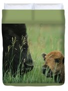 Close View Of An American Bison Duvet Cover