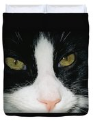 Close View Of Black And White Tabby Cat Duvet Cover