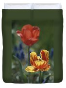 Close View Of Blossoming Tulips Duvet Cover