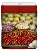 Close View Of Chili Peppers And Other Duvet Cover