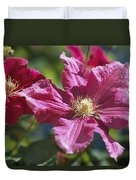 Close View Of Clematis Flowers Duvet Cover