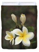 Close View Of Frangipani Flowers Duvet Cover