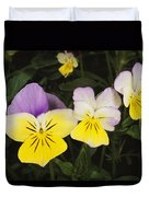 Close View Of Pansy Blossoms Duvet Cover
