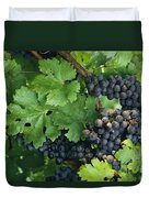Close View Of Red Grapes On The Vine Duvet Cover