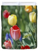 Close View Of Spring Tulips In Bloom Duvet Cover