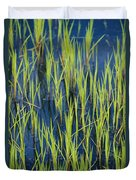 Close View Of Water Grasses Growing Duvet Cover