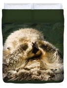 Closeup Of A Captive Sea Otter Covering Duvet Cover