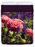 Closeup Of Colorful Flowers In Butchart Duvet Cover