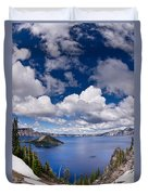 Clouds Above Crater Lake Duvet Cover