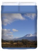 Clouds And Mt Shasta In Autumn Duvet Cover