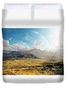 Clouds Break Over A Desert On Matsya Duvet Cover by Brian Christensen