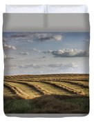 Clouds Over Canola Field On Farm Duvet Cover