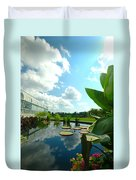Cloudy Reflections And Lily Pad Companions  Duvet Cover