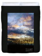 Cloudy Sunset With Bare Trees And Birds Flying Duvet Cover