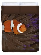 Clownfish In Purple Tip Anemone Duvet Cover