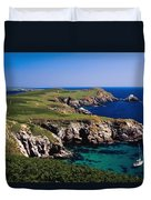 Coastal Cliffs And Seascape With Boat Duvet Cover