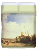 Coastal Scene In Picardy Duvet Cover by Richard Parkes Bonington