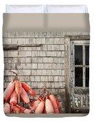Coastal Shanty And Buoys. Duvet Cover