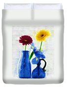 Cobalt Blue Glass Bottles And Gerbera Daisies Duvet Cover