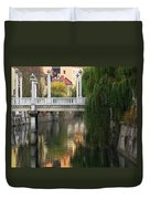 Cobblers Bridge And Morning Reflections In Ljubljana Duvet Cover by Greg Matchick