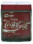 Coca Cola Green Red Grunge Sign Duvet Cover