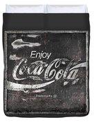 Coca Cola Pink Grunge Sign Duvet Cover