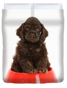 Cocker Spaniel Pup In Doggy Dish Duvet Cover