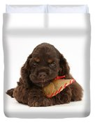 Cocker Spaniel Pup With Chew Treat Duvet Cover