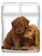 Cocker Spaniel Puppy And Goldendoodle Duvet Cover