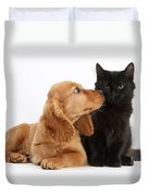 Cocker Spaniel Puppy And Maine Coon Duvet Cover